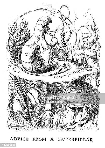 alice in wonderland-beratung von caterpillar - john tenniel stock-grafiken, -clipart, -cartoons und -symbole