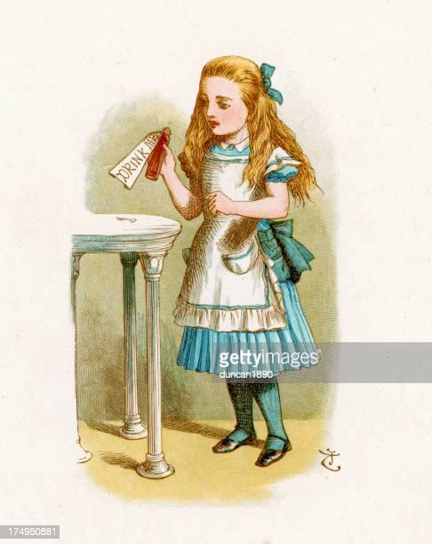 alice in wonderland-drink mich - john tenniel stock-grafiken, -clipart, -cartoons und -symbole