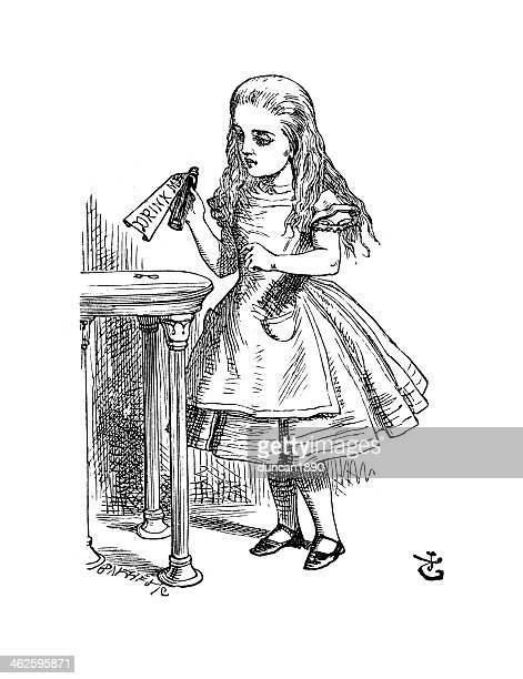 alice in wonderland - drink me - potion stock illustrations