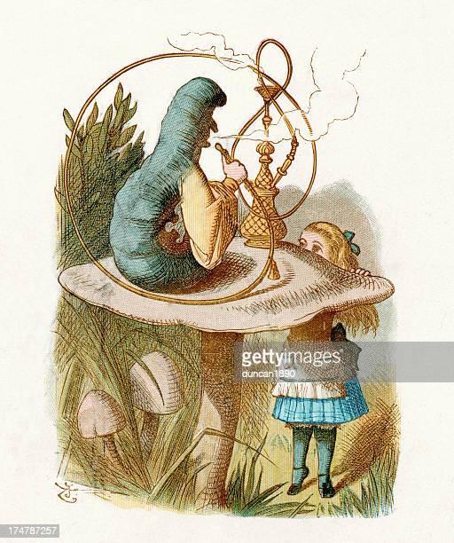 alice in wonderland - hookah stock illustrations, clip art, cartoons, & icons