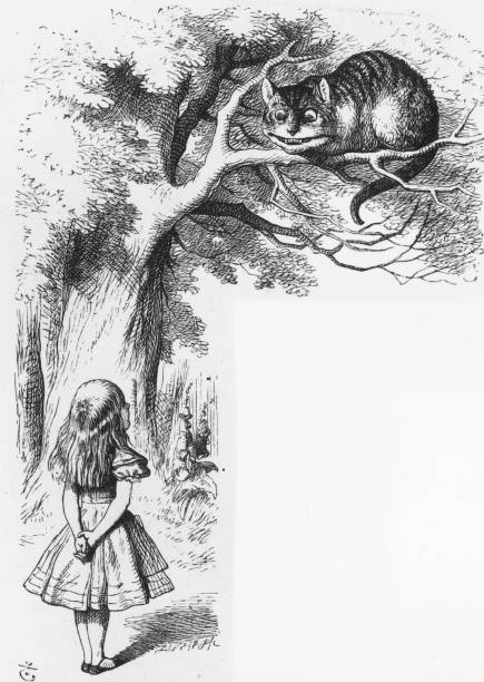 Alice talking to the Cheshire Cat in a scene from 'Alice...