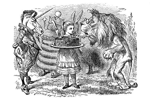 alice - through the looking glass - unicorn stock illustrations
