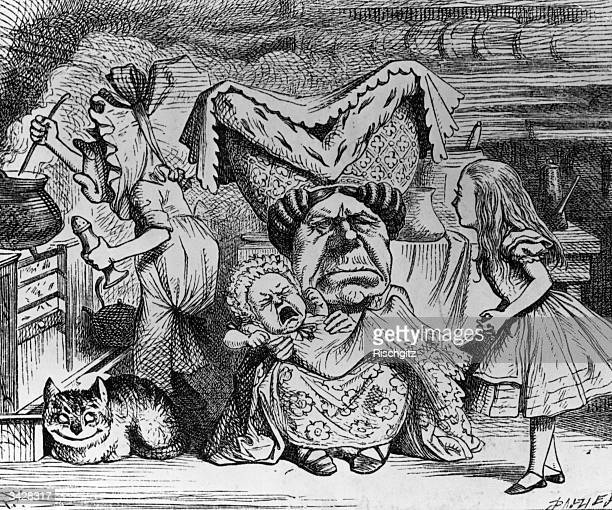 Alice with the Duchess, the baby, the cook and the cheshire cat. From 'Alice In Wonderland' by Lewis Carroll.