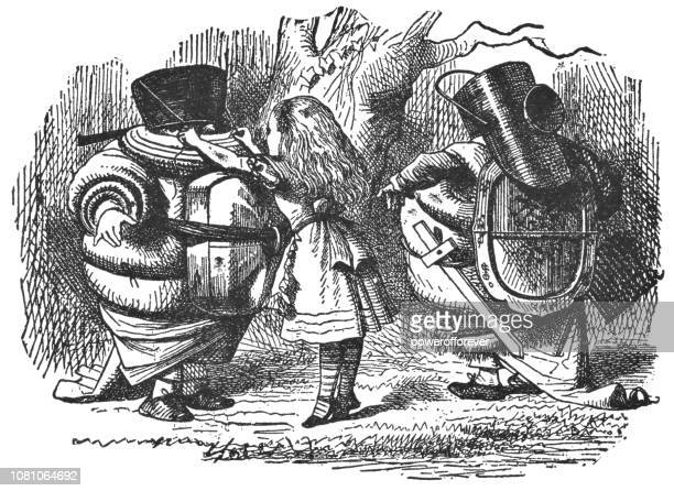 alice with tweedledum and tweedledee suiting up for a fight in through the looking-glass - family fighting cartoon stock illustrations