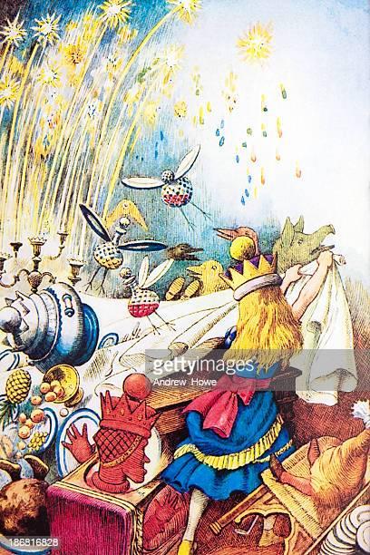 alice's adventures in wonderland - demolished stock illustrations