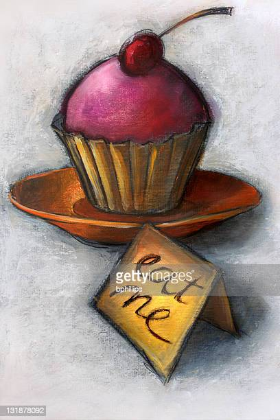 alice's cupcake - grunge image technique stock illustrations