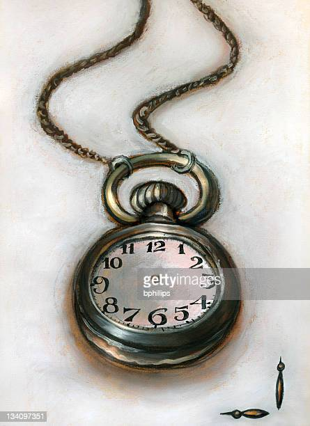 alice's pocket watch - grunge image technique stock illustrations