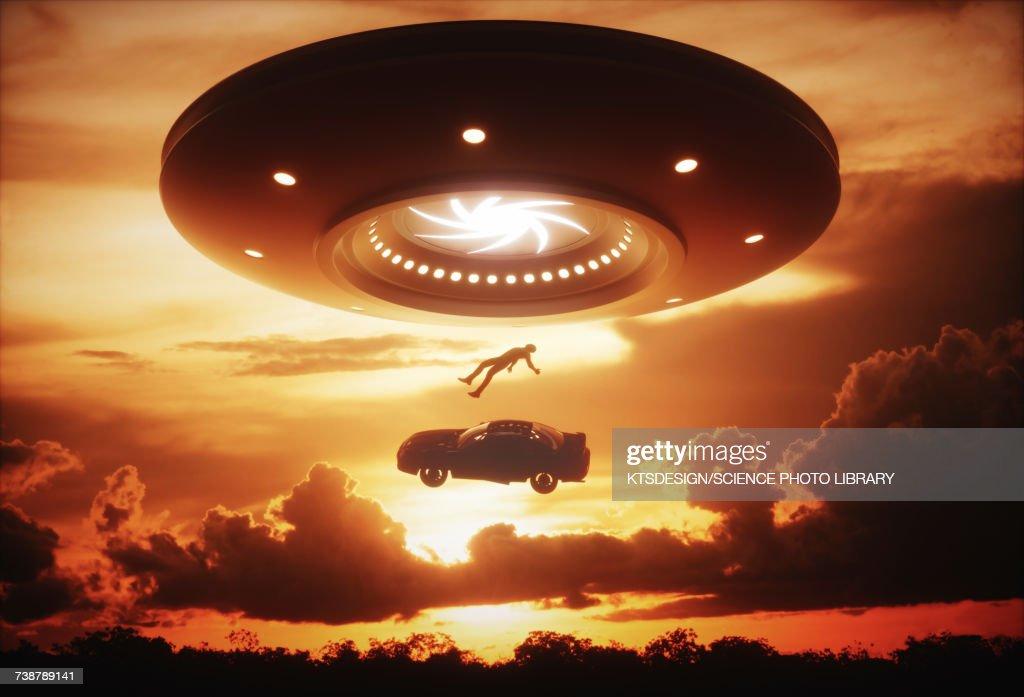 Alien abduction, illustration : Stock-Illustration