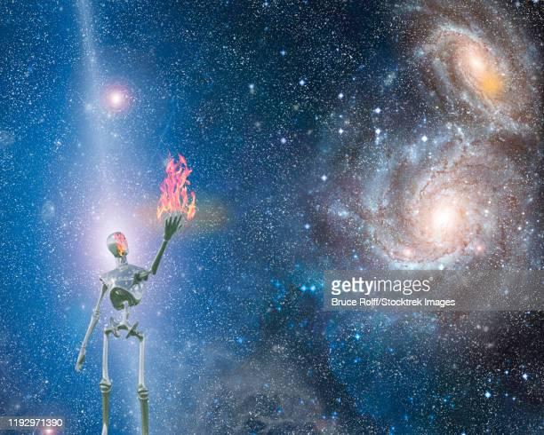 ilustraciones, imágenes clip art, dibujos animados e iconos de stock de alien bringing fire in universe. - galaxiaespiral
