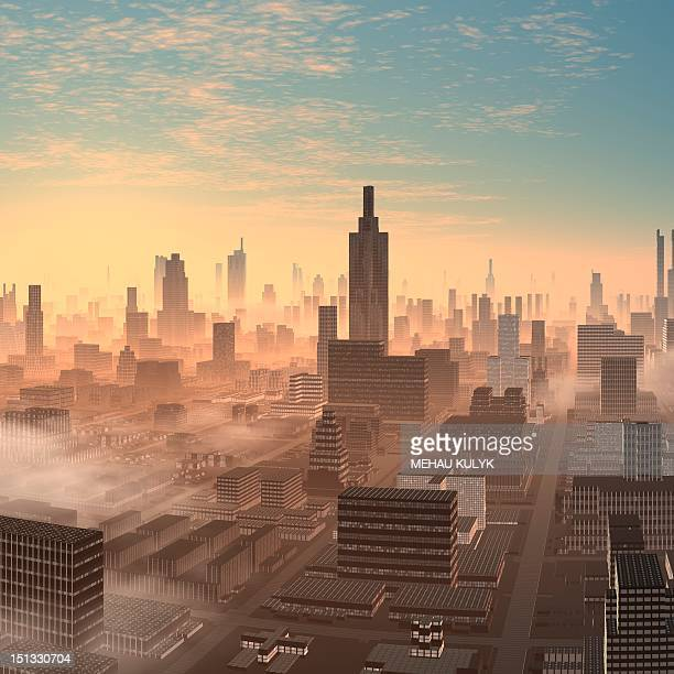 alien city, artwork - tall high stock illustrations