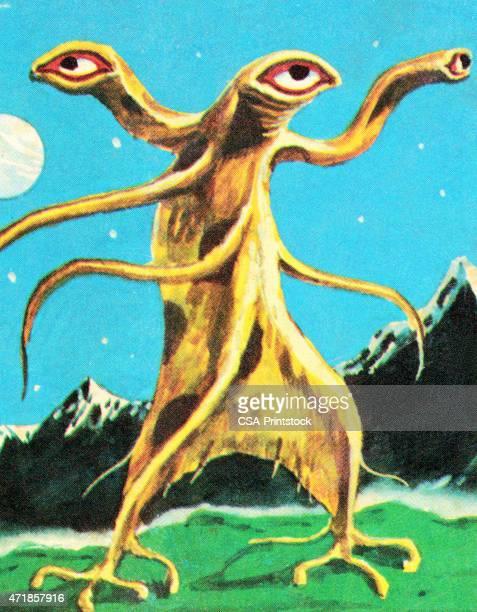 Alien monstro com 3 Olhos