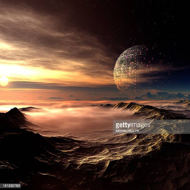 alien planet, artwork - planet space stock illustrations