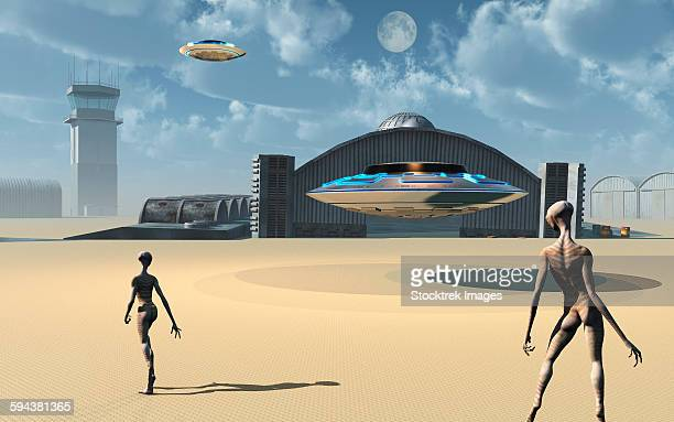 alien reptoids and their flying saucers at area 51, a top secret base in nevada, usa. - out of context点のイラスト素材/クリップアート素材/マンガ素材/アイコン素材