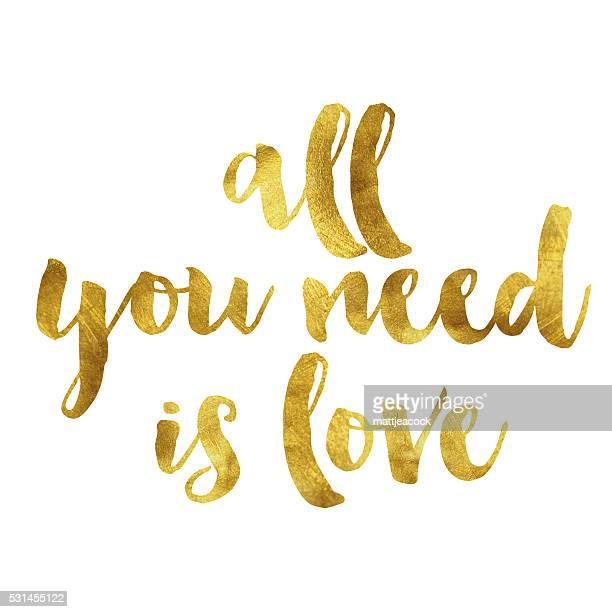 ilustraciones, imágenes clip art, dibujos animados e iconos de stock de todo lo que necesitas es amor mensaje de la hoja de oro - papel de aluminio