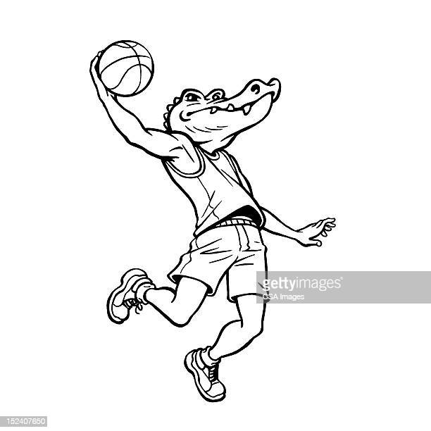 alligator jumping with basketball - match sport stock illustrations