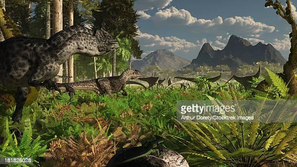Allosaurus and Diplodocus dinosaurs roam western North America in the Late Jurassic.
