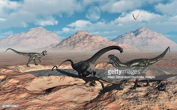 Allosaurus dinosaurs stalk a Diplodocus trapped in a mud pit.