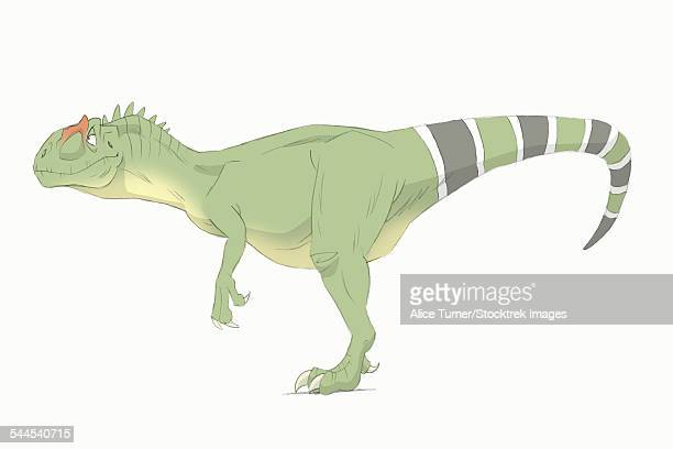 Allosaurus pencil drawing with digital color.