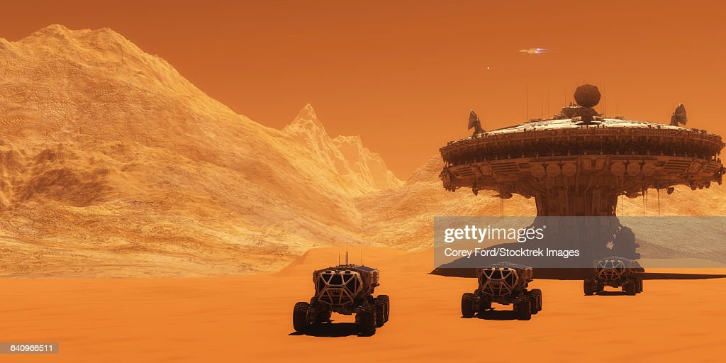 All-terrain vehicles embark on an exploratory mission across Mars. : stock illustration