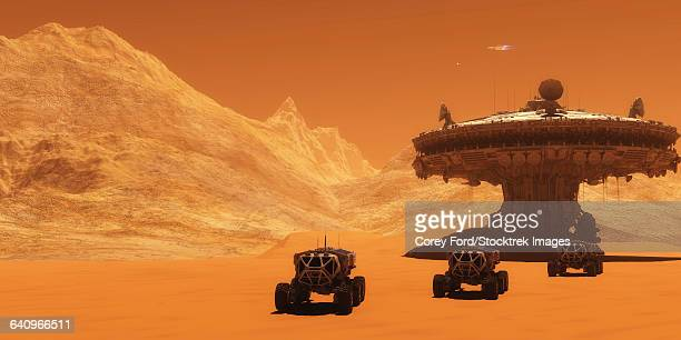 All-terrain vehicles embark on an exploratory mission across Mars.