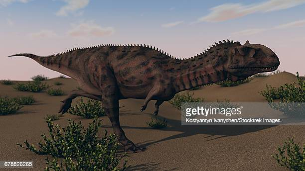 Alluring Majungasaurus in swamp grassland.