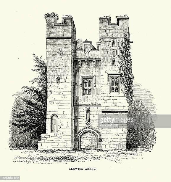 alnwick abbey - northeastern england stock illustrations, clip art, cartoons, & icons