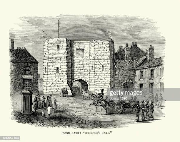 alnwick castle - bond or hotspur's gate - northumberland stock illustrations, clip art, cartoons, & icons