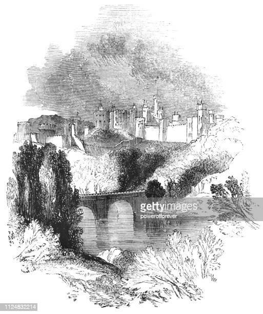 alnwick castle in alnwick, england - 17th century - northumberland stock illustrations, clip art, cartoons, & icons