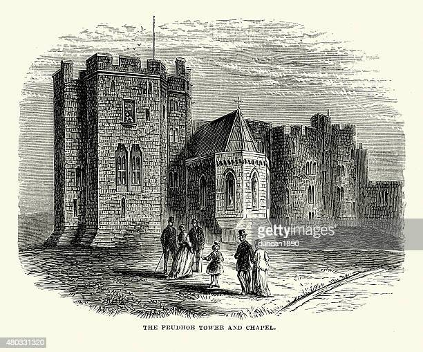 alnwick castle - prudhoe tower and chapel - alnwick stock illustrations