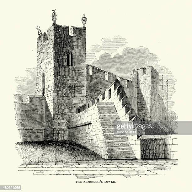 alnwick castle - the armourer's tower - northumberland stock illustrations, clip art, cartoons, & icons
