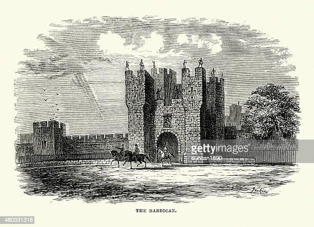 alnwick castle - the barbican - barbican centre london stock illustrations
