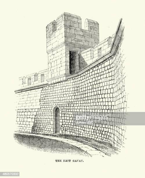 alnwick castle - the east gavat - northumberland stock illustrations, clip art, cartoons, & icons