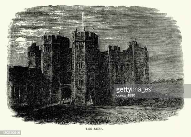 alnwick castle - the keep - northumberland stock illustrations, clip art, cartoons, & icons