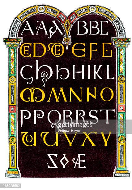 alphabet dating from the 10th century - hand coloured engraving - the alphabet stock illustrations