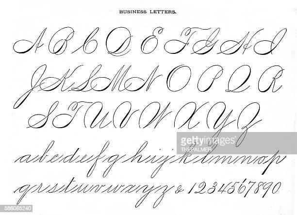 Alphabet penmanship calligraphy 1881