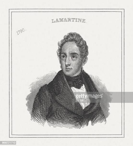 illustrations, cliparts, dessins animés et icônes de alphonse marie louis prat de lamartine (1790-1869), publiée en 1843 - literature