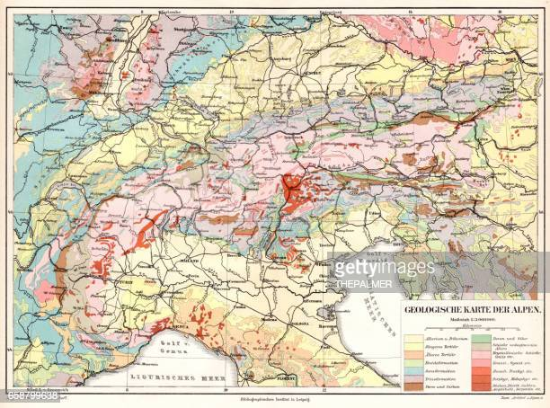 alps geological map 1895 - geology stock illustrations, clip art, cartoons, & icons