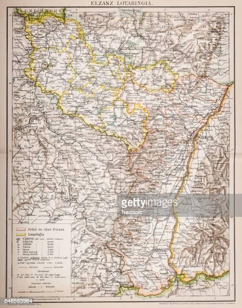 alsace-lorraine map 1880 - lorraine stock illustrations, clip art, cartoons, & icons