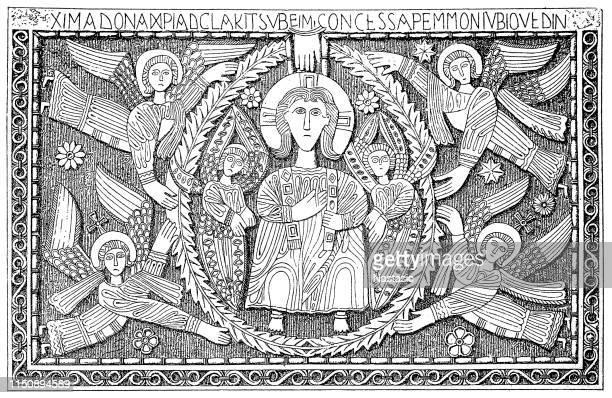 altar of duke ratchis, 730-740, cividale christian museum - archaeology stock illustrations