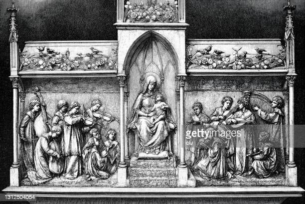 altar with virgin mary singers - madonna singer stock illustrations