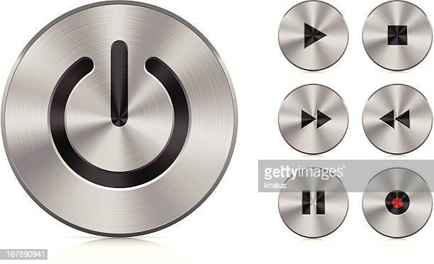aluminium buttons - start button stock illustrations, clip art, cartoons, & icons