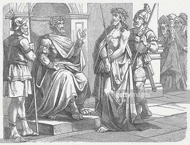 i am a king (john 18), wood engraving, published 1877 - the crucifixion stock illustrations, clip art, cartoons, & icons