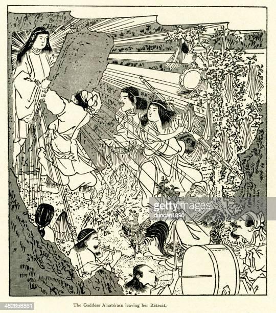 amaterasu leaving her retreat - ancient civilization stock illustrations, clip art, cartoons, & icons