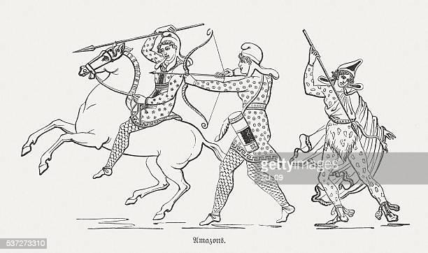 Amazons, Greek mythology, wood engraving, published in 1880