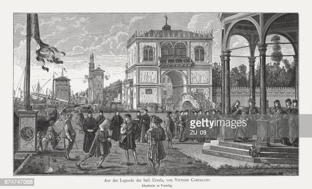 ambassadors return (legend of saint ursula), painted by vittore carpaccio - high renaissance stock illustrations