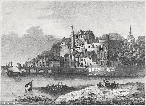 amboise castle, france, lithograph, published in 1852 - loire valley stock illustrations, clip art, cartoons, & icons