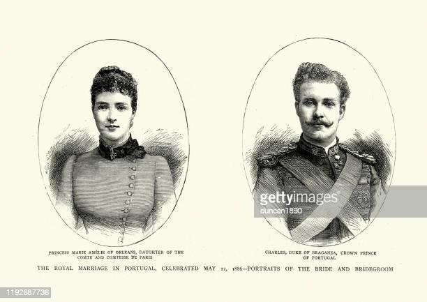 amelie of orleans and charles duke of braganza, 1886 - royal person stock illustrations