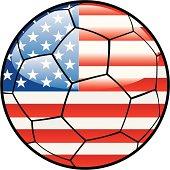 America flag on soccer ball