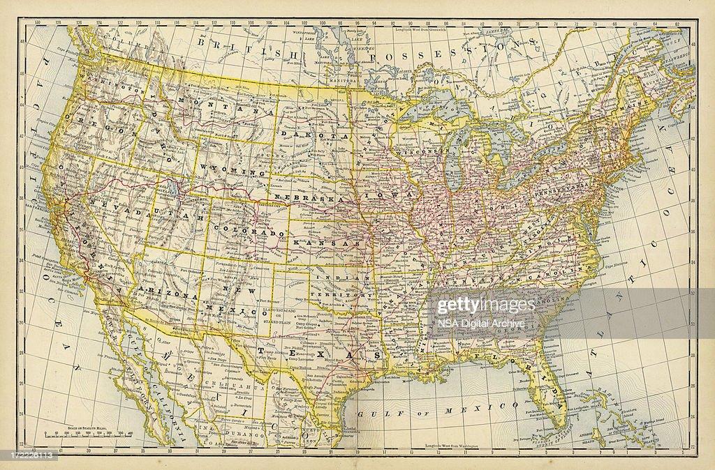 America Old Map : Stockillustraties