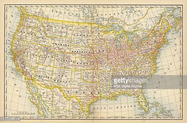 america old map - florida us state stock illustrations